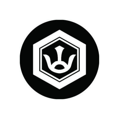 家紋シール 白紋黒地 亀甲に山文字 布タイプ 直径40mm 6枚セット NS4-0875W