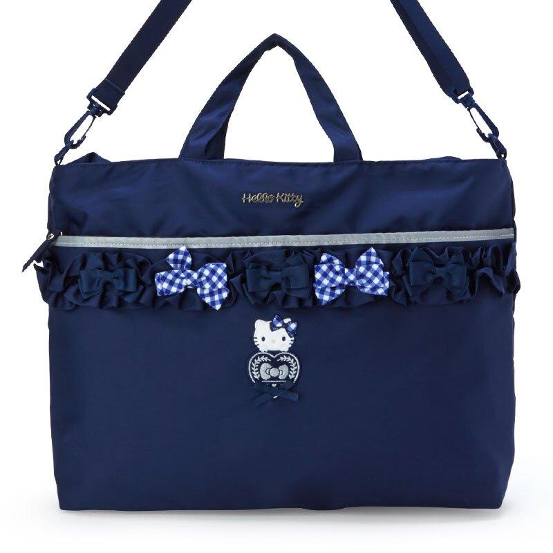 小禮堂 Hello Kitty 橫式雙層尼龍側背袋 防潑水側背袋 尼龍托特包 防水包 (藍 蝴蝶結)