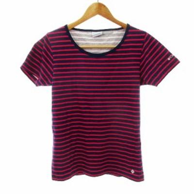 【中古】コロンビア Columbia Tシャツ カットソー 半袖 ボーダー M 紺 ネイビー /MO レディース