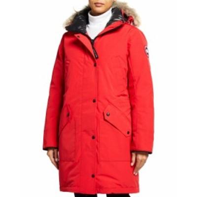 カナダグース レディース コート アウター Ellesmere Parka w/ Coyote Fur Ruff RED