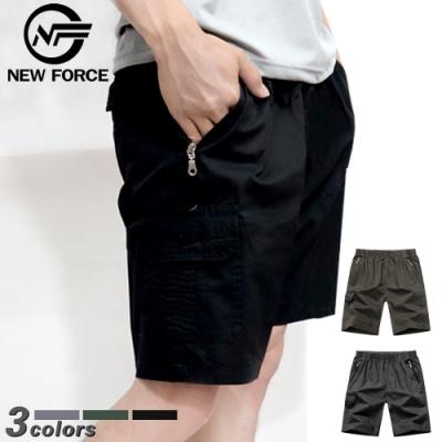 NEW FORCE 寬鬆舒適多口袋休閒工作短褲-黑色
