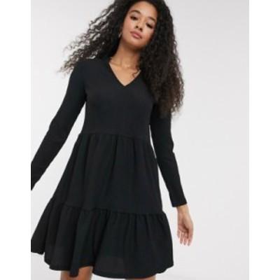 ニュールック レディース ワンピース トップス New Look crinkle smock v neck dress with frill collar in black Black