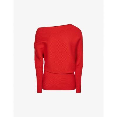 リース REISS レディース ニット・セーター トップス Lorna ribbed stretch-knit jumper RED