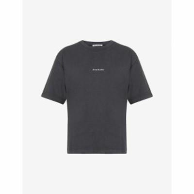 アクネ ストゥディオズ ACNE STUDIOS レディース Tシャツ トップス Edie logo-print cotton-jersey T-shirt BLACK