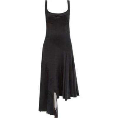 マリーン セル Marine Serre レディース ワンピース ワンピース・ドレス Asymmetrical crescent moon-applique devore dress Black