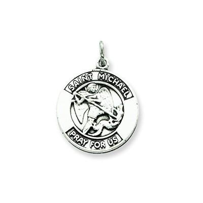 スターリング シルバー アンティーク Saint Michael メダル ペンダント ネックレス チェーン インクルード(海外取寄せ品)