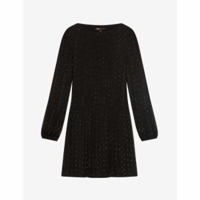 マージュ MAJE レディース ワンピース ワンピース・ドレス Polka dot pleated woven dress BLACK