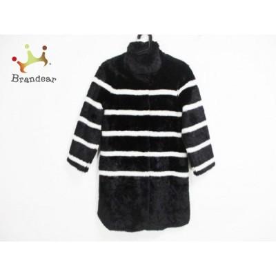 アルマーニジーンズ コート サイズ38 S レディース - 黒×白 長袖/フェイクファー/ボーダー/冬   スペシャル特価 20210312