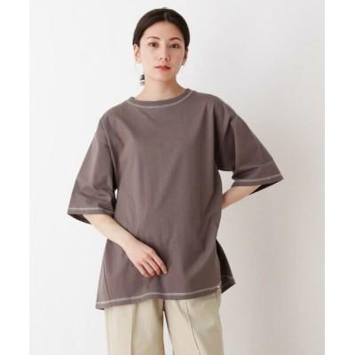 SHOO・LA・RUE/シューラルー USAコットン配色ステッチラウンドヘムTシャツ チャコールグレー(014) 03(L)