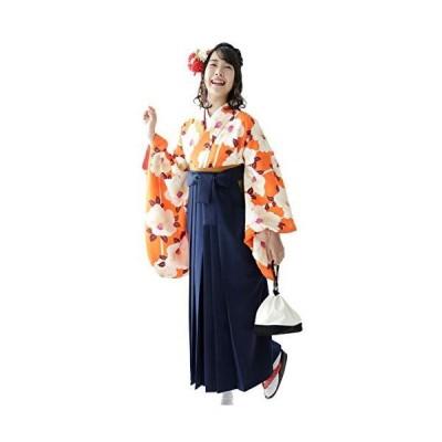 袴セット「橙地に大きな椿と縞 袴紺」 Lサイズ