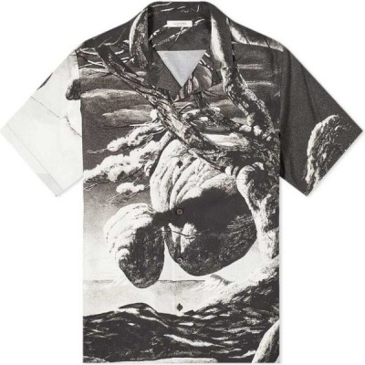 ヴァレンティノ Valentino メンズ 半袖シャツ トップス x Roger Dean Tonal Floating Island Vacation Shirt Black/White