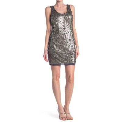 ベルベット レディース ワンピース トップス Sequin Sleeveless Mini Dress STEEL