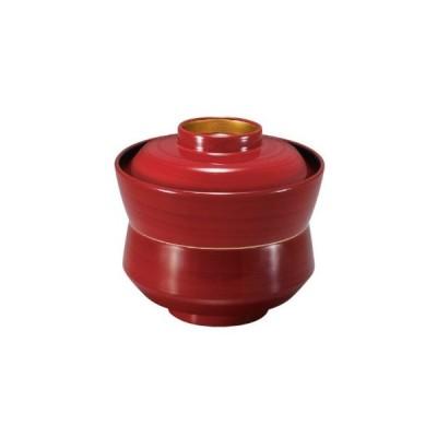 お椀 蓋付き 杵型吸物椀(小)紅ライン高台内金 耐熱ABS樹脂 食器洗浄機対応 f6-212-2