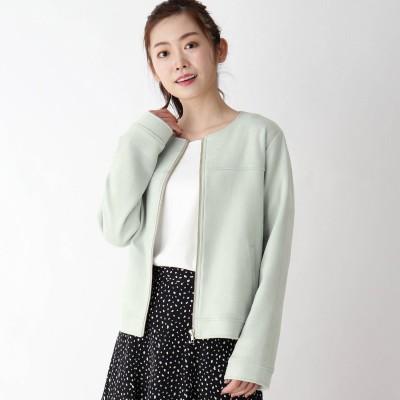 ピンクアドベ pink adobe 【M-LL】エコスエード ノーカラージャケット (ライトグリーン)