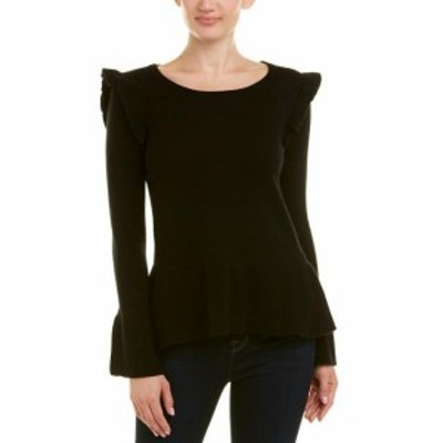 Ruffle  ファッション トップス Qi Cashmere Ruffle Trim Cashmere Sweater Xs Black