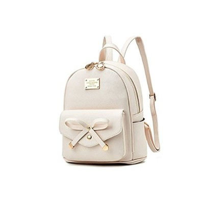 Women Fashion Bowknot Cute Leather Backpack Mini Backpack Purse for Girls Beige【並行輸入品】