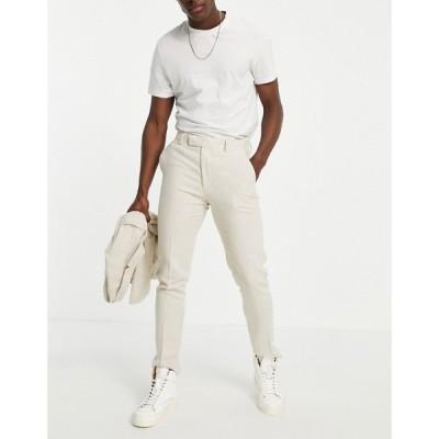 エイソス ASOS DESIGN メンズ スラックス スキニー ボトムス・パンツ skinny soft tailored suit trousers in stone linen blend slub ベージュ