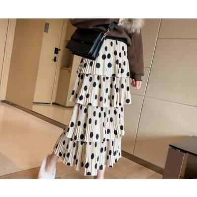 【セール】大人気 春夏 カジュアル プリーツスカート WE 水玉 フリーサイズ レディース ロングスカート シフォン ハイウエスト 20代30代
