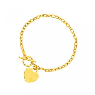 ミア コレクション ブレスレット Toggle Bracelet with Heart Charm in 14K Yellow Gold