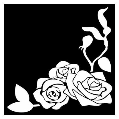 シルエットステッカー 薔薇ライン 右下窓カド装飾用 定形外郵便送料無料