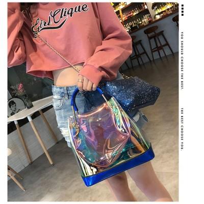 超人気インスタグラムで話題のチェーンバッグ✨ レディース 透明バッグ ビッグバッグ/インナーバッグ 旅行バッグ シャイニー 大容量 トートバッグ レディース
