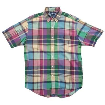 ポロラルフローレン ワンポイントロゴ  ボタンダウン 半袖 チェックシャツ サイズ表記:M