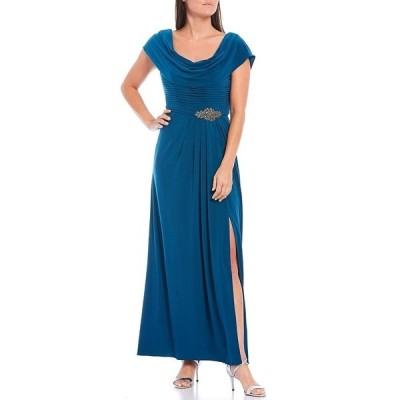 アレックスイブニングス レディース ワンピース トップス Petite Size Matte Jersey Cowl Neck Pleated Embellished Waist High Slit Long Gown Teal