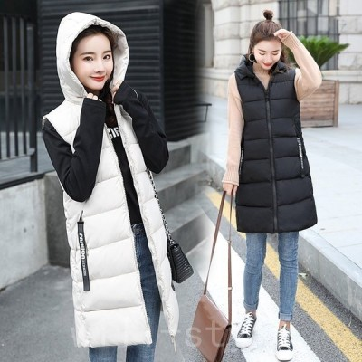 中綿ジャケットベストレディースダウンコート袖なし秋冬フード付き着痩せ体型カバーアウター防寒着