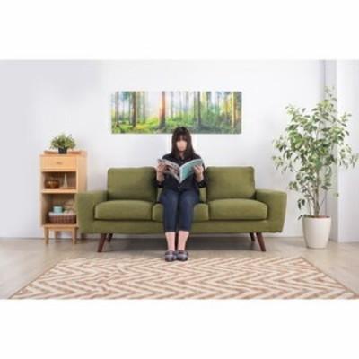 ソファー ソファ 3人掛け 長椅子 テレワーク 在宅 大きい 大人数 長い 幅広 ワイド グリーン 緑 約 幅185 奥行81 高さ80 座面高45