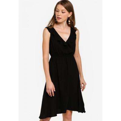 ザローラ ZALORA BASICS レディース パーティードレス ワンピース・ドレス Basic Ruffle Front Dress Black