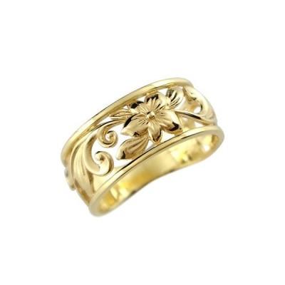 ハワイアンジュエリー ピンキーリング リング 指輪 幅広 透かし イエローゴールドk10 ハワイアンリング 地金リング 10金 k10yg ストレート 送料無料
