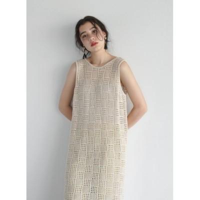 【フィーカ】 FIKA.  Crochet knit Onepiece レディース オフホワイトP M FIKA.