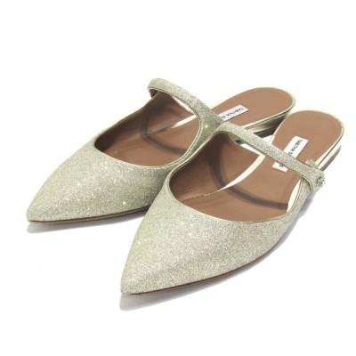 【10月19日値下】TABITHA SIMMONS KITTIE Glittered Leather Flats ワンストラップサンダル シルバー サ