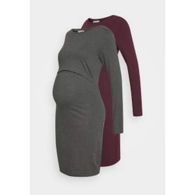 アンナ フィールド ママ レディース ワンピース トップス 2 PACK NURSING DRESS - Jersey dress - grey/bordeaux grey/bordeaux