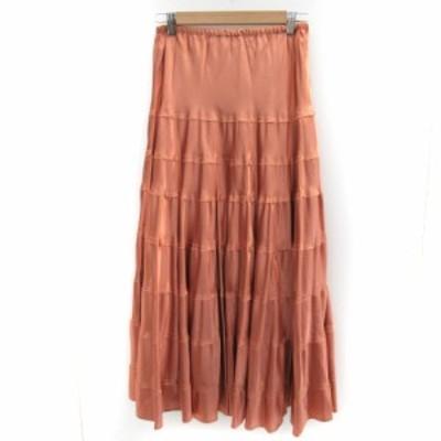 【中古】オットー OTTO スカート フレア ティアード ロング丈 大きいサイズ LL オレンジ /YK20 レディース
