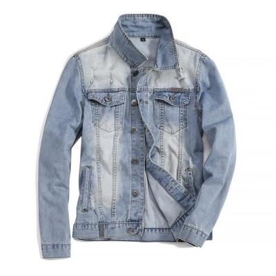 Gジャン デニムジャケット メンズ スリム 色落ち ダメージ カジュアル ユーズド加工 大きいサイズ アウター
