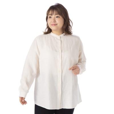 レディース 【在庫限り】<大きいサイズ>婦人 オーガニックコットン麻混スタンドカラーシャツ アイボリー 5L