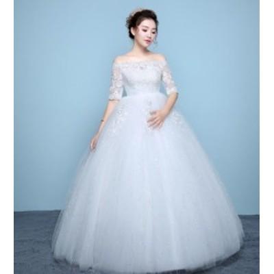 上質ウェディングドレス チュールワンピース花嫁結婚式ブライダル披露宴二次会パーティー ロング ビスチェ 編み上げタイプ ボートネック