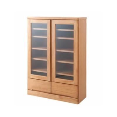 キャビネット ロー 幅80cm 書棚 カップボード 食器棚 天然木 ナチュラル ガラス扉 日本製 完成品 te-0037