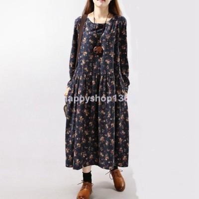 ワンピース ロング ゆったり着るタイプ かわいい 花柄  m・lサイズ g4