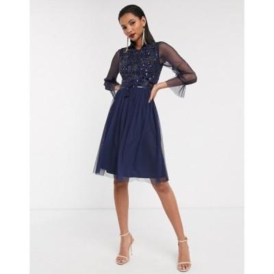 フロック レディース ワンピース トップス Frock & Frill mesh long sleeve high neck skater dress