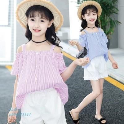 子供 キッズ服 上下セット 子供パンツ プリンセス ストライプ セット ファッション Tシャツ キッズ 肩出し キャミソール 可愛い