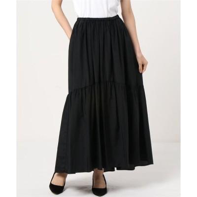 スカート Demi-Luxe BEAMS / コットンシルク ギャザーロングスカート
