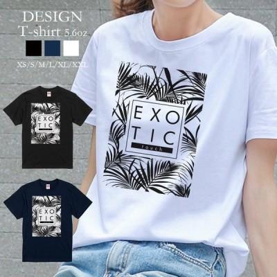 Tシャツ レディース 半袖 トップス 男女兼用 パーム ツリー ヤシの木 モノクロ ハワイ 夏 クルーネック プリントTシャツ