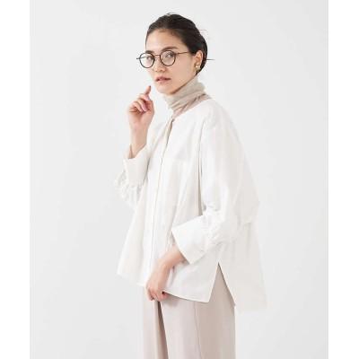 【カリテ】 ノーカラーコクーンシャツ レディース オフホワイト 38 qualite