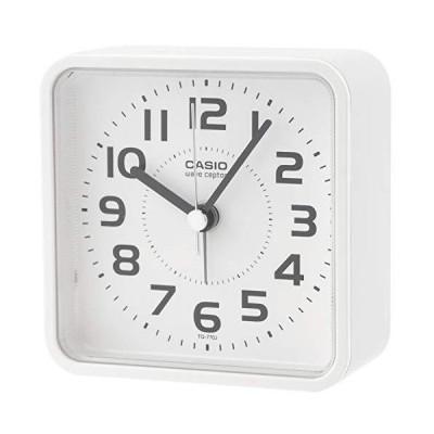 CASIO(カシオ) 目覚まし時計 電波 ホワイト アナログ ライト 付き TQ-770J-7JF 高さ9.3×幅9.2×奥行き4.1cm