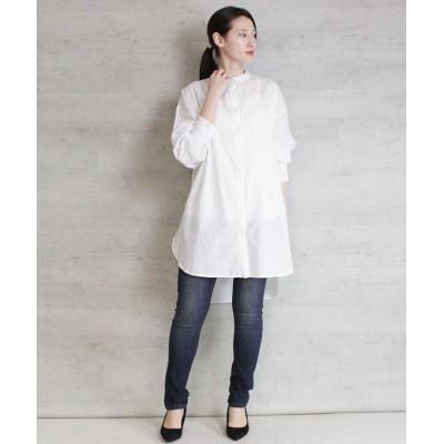 【アットワン】 パフスリーブルーズシャツ レディース オフホワイト FREE atONE