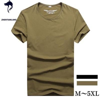 tシャツ Tシャツ 無地 ベーシック メンズ 半袖 クルーネック Tシャツ ブラック カーキ 綿100% T-shirt 5XL 大きいサイズ