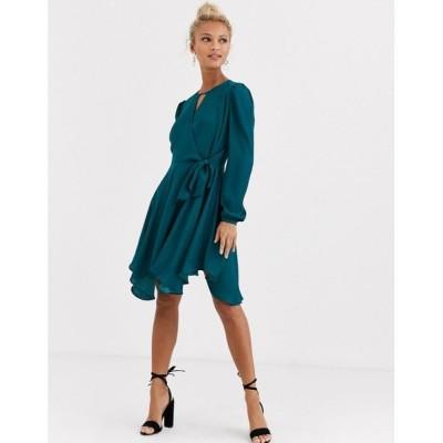 フォーエバーニュー Forever New レディース ワンピース ラップドレス ミニ丈 ワンピース・ドレス wrap tie mini dress in emerald green ティール
