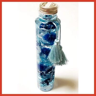 & Felicite ハーバリウム プレゼント ギフト 贈り物 誕生日 記念日 (丸瓶 タッセル付 高さ215mm, ブルー)